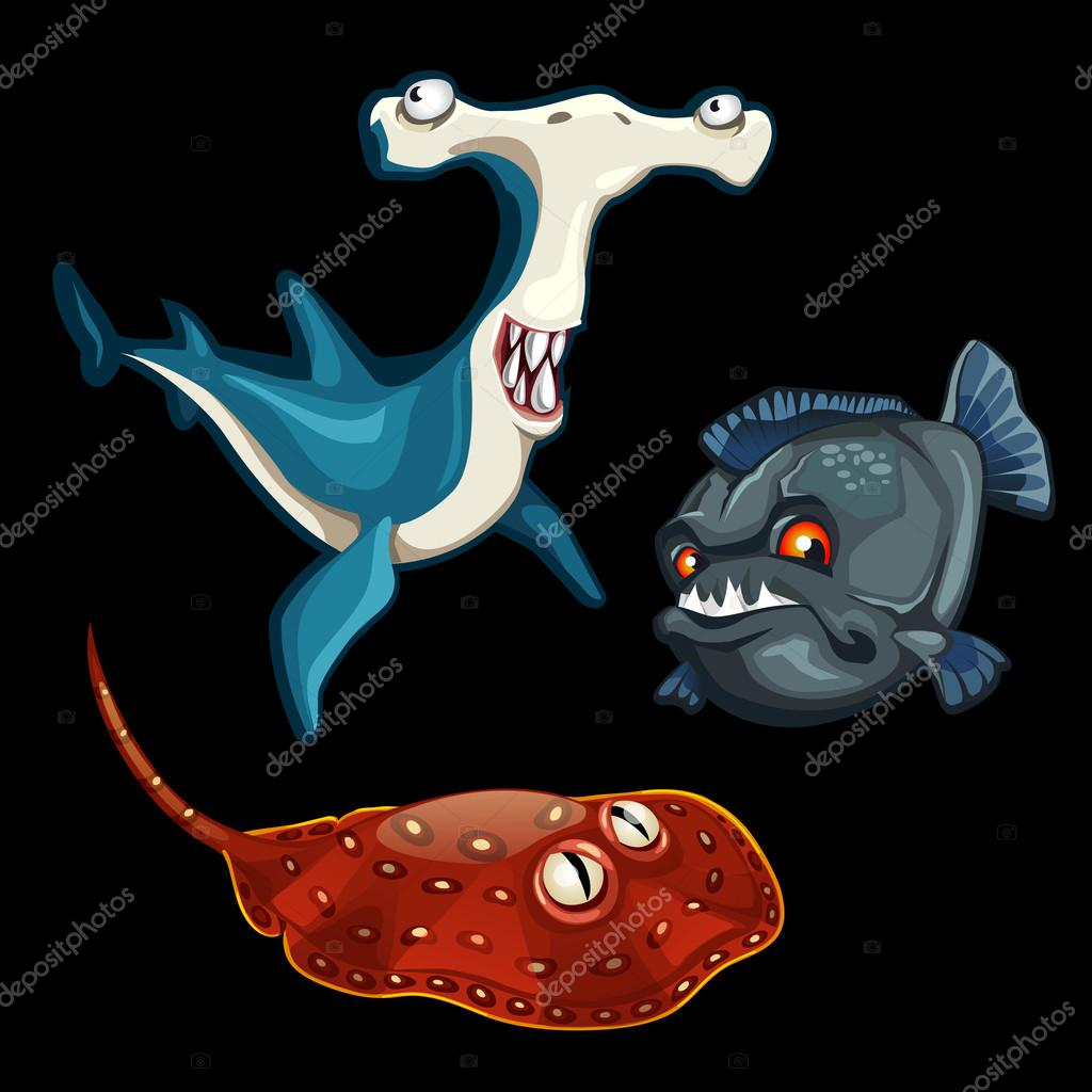 Set of predatory fishes, sharks, stingray, hammer