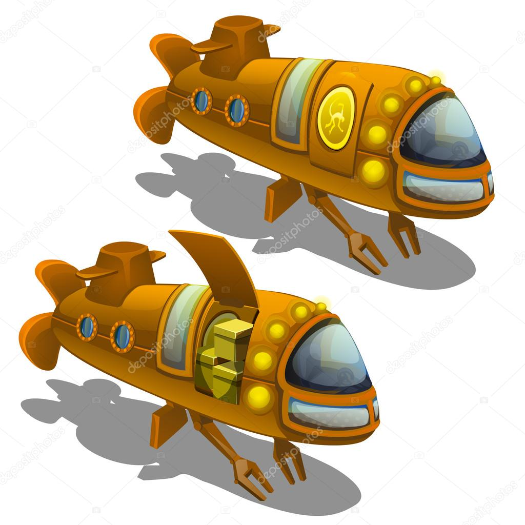 Yellow submarine cargo isolated
