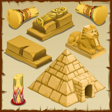 Sarcophagus and the pyramid, symbols of ancient