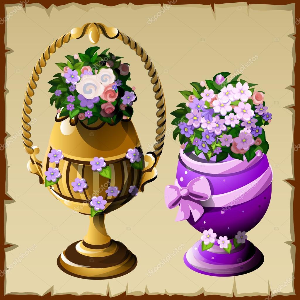 dos jarrones con flores en diverso estilo u archivo imgenes vectoriales