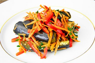 Diet and Healthy Food: Salad with Eggplant, Carrots.