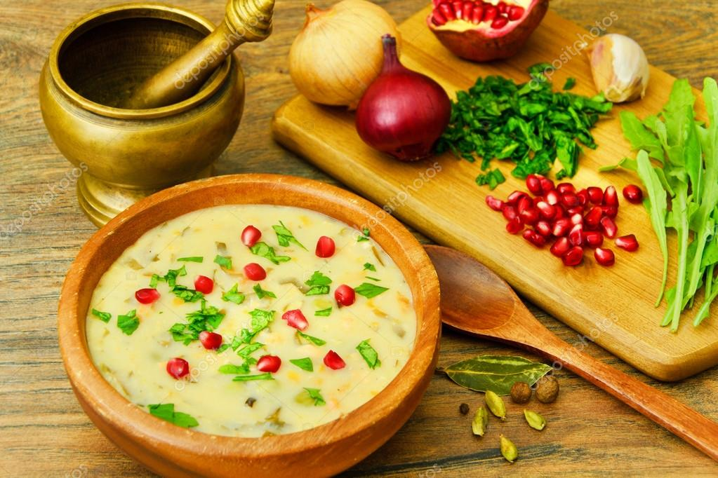 Healthy and Diet Food: Soup of Fish with Pomegranate.