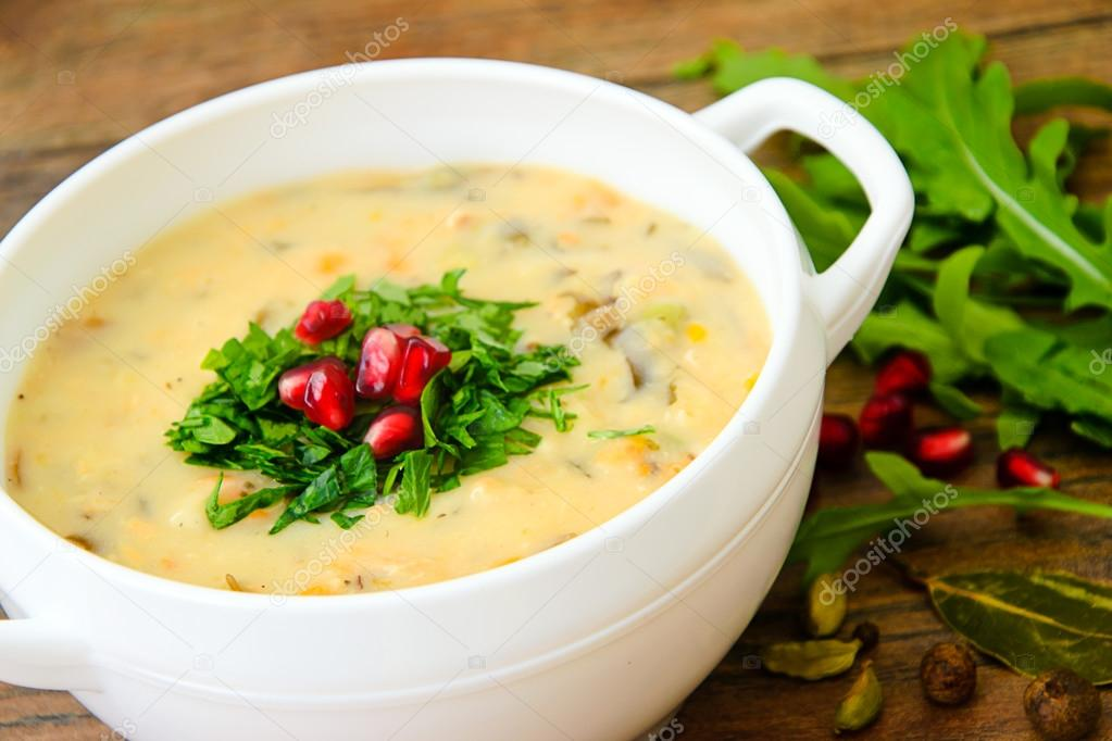 Healthy and Diet Food: Soup of Fish with Pomegranate