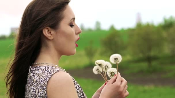 Close up profile of girl blowing dandelion in the garden. Slowly