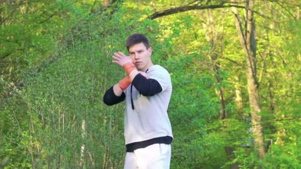 The performance of Wing Chun by boy on forest background. Slowly