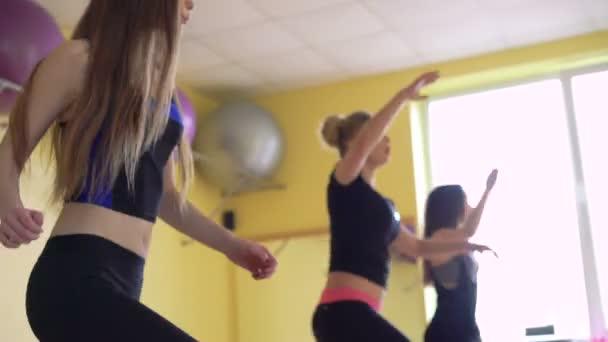 Ženská skupina dělá aerobik v moderní tělocvičně 4k
