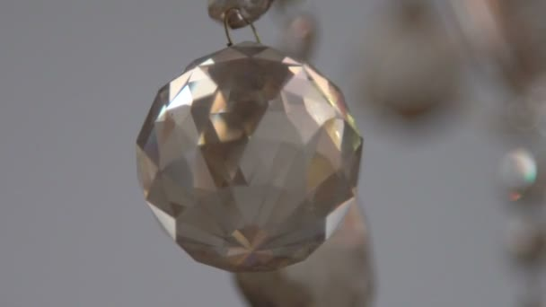 Crystals closeup. Crystal modern chandelier detail background. Slow motion
