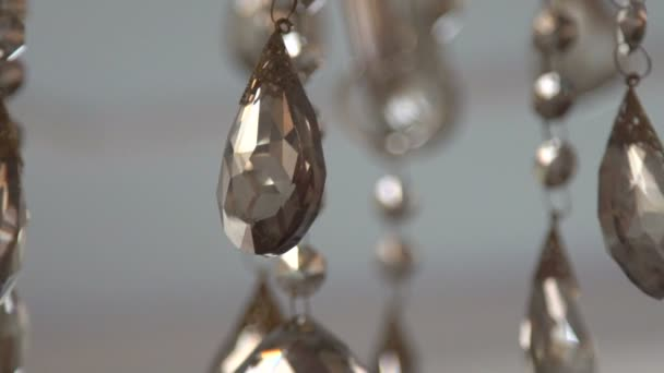 Chrystal chandelier with small decor. Slow motion