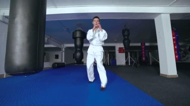 Taekwondo. Pohyby výcviku mladého sportovce v tělocvičně