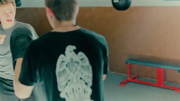 Boxing training two guys