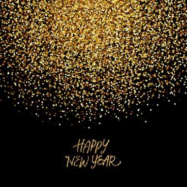 Gold glitter confetti background 'Happy New Year' clip art vector