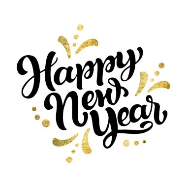 Hand lettering 'Happy New Year' for greeting card or poster stock vector