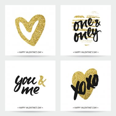 Love cards for wedding and Valentine's day. Hand brush lettering with ink and golden sparkling hand painted hearts. Modern calligraphic design. stock vector