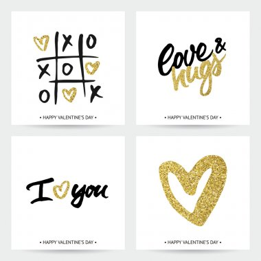 Set of love cards for Valentine's Day or wedding. Hand brush lettering and golden sparkling hearts. Modern calligraphic design. clip art vector