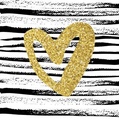 Golden sparkling heart on scratched lines background