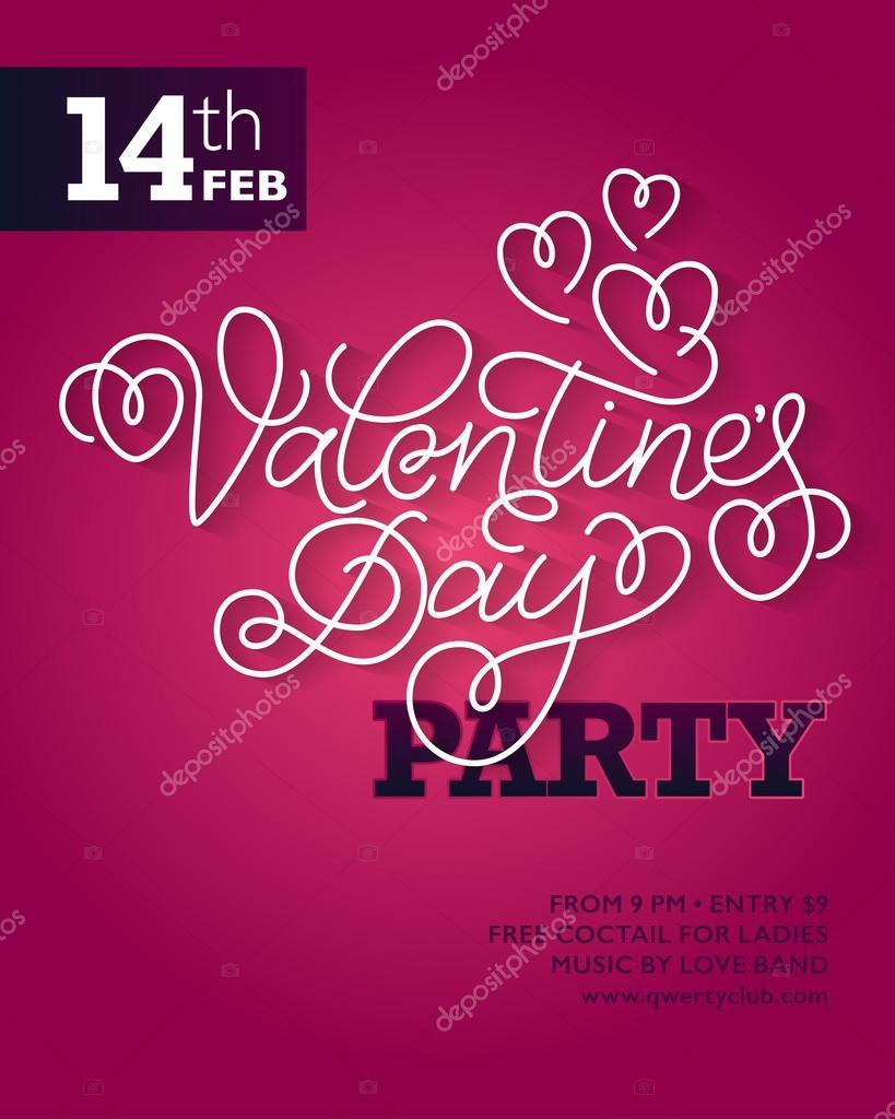 Handzettel Für Valentinstag Party Oder Einladung Entwerfen, Kreative  Einladungen