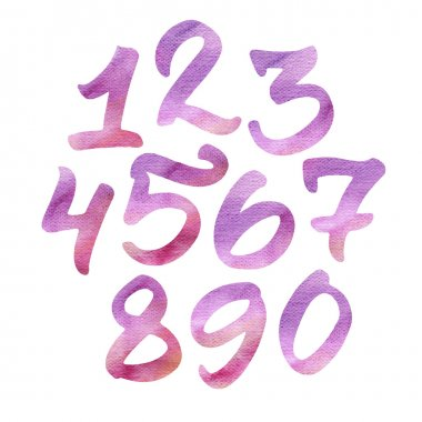 Hand painted watercolor numbers