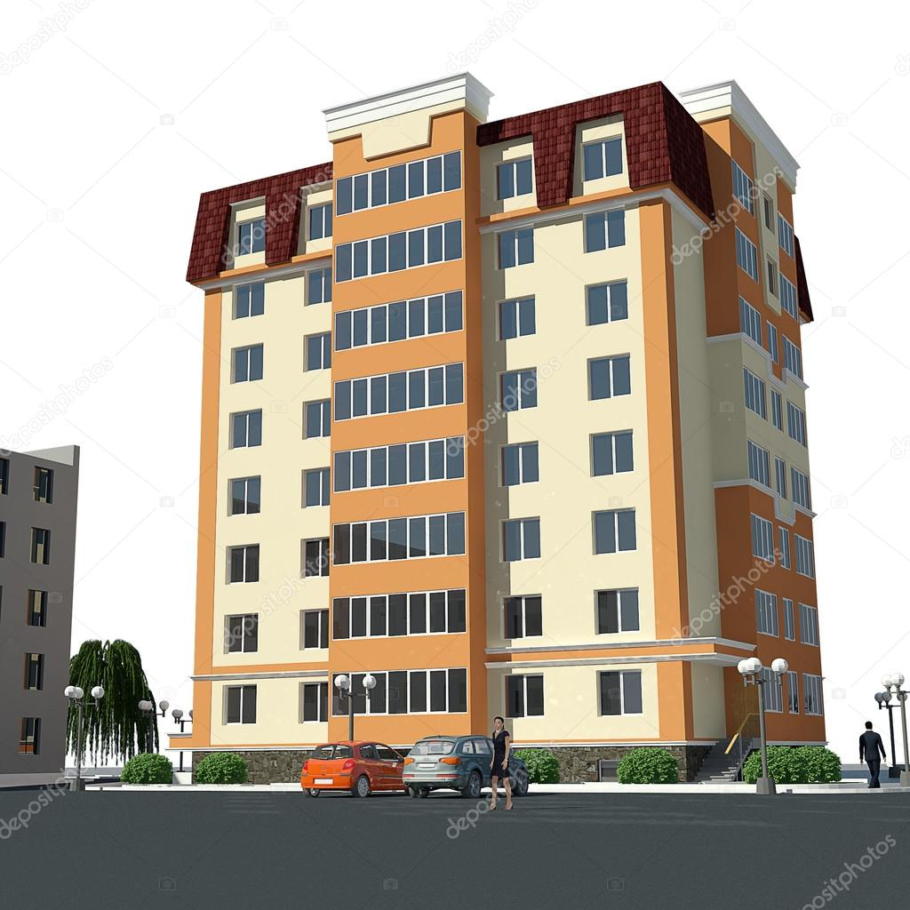 3d view of residential building | Residential building 3d