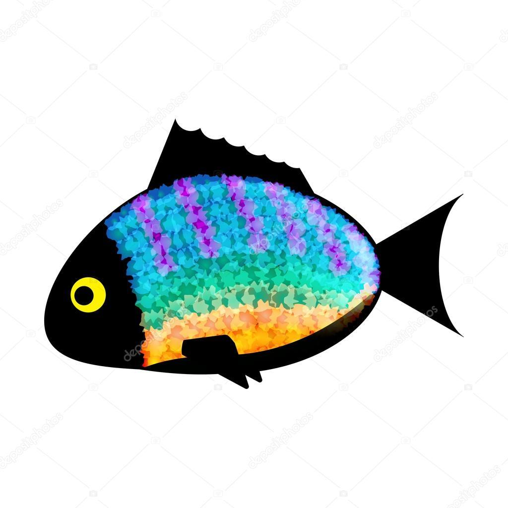 Silueta colores sobre fondo blanco de pescado — Vector de stock ...