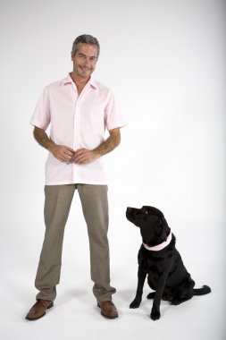 man standing with Labrador dog