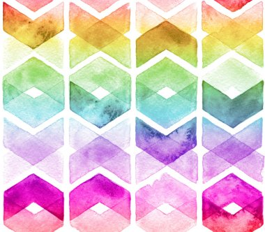 Watercolor chevron rainbow colors. Seamless pattern for fabric
