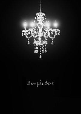 Crystal chandelier on black background