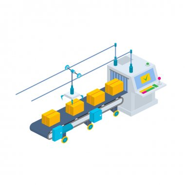 Conveyor vector illustration. Isometric industrial production li