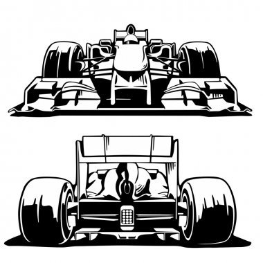 Racing car front and back view. Formula 1
