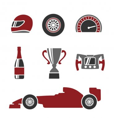 Car race icons set Formula 1. Helmet, wheel, tire, speedometer, cup, flag, Vector flat illustration isolated on white background.