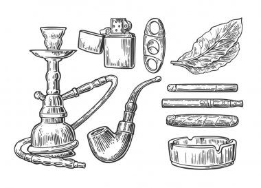 Set of vintage smoking tobacco elements. Monochrome style. Hookah, lighter, cigarette,  cigar, ashtray, pipe, leaf, mouthpiece. Vector vintage engraved black illustration isolated on white background.
