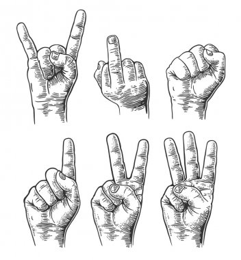 Set of gestures of hands in a vector. Male Hand sign. Fist, Middle finger up, Rock and Roll, counting hand sign from one to three.  Vector vintage engraved illustration isolated on white background