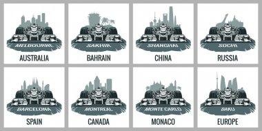 Set vintage poster Grand Prix. Barcelona, Spain, Montreal, Canada, Monte Carlo, Monaco, Baku, Europe, Melbourne, Australia, Sakhir, BahrainShanghai, China, Sochi, Russia. Vector for poster, web.