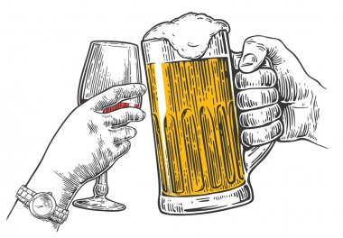 Two hands clink a glass of beer and wine.