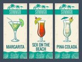 Fotografie Alcohol cocktail set. Margarita, sex on the beach, pina colada. Vintage vector engraving illustration for web, poster, menu, invitation to summer beach party. Isolated on light background