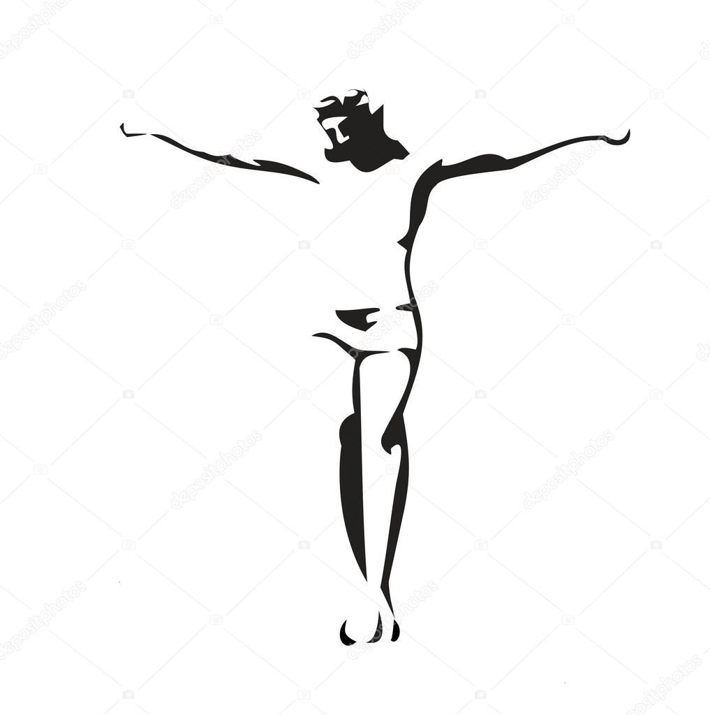 Jesús Cristo Crucificado Ilustración De Vector Negro Sobre Fondo