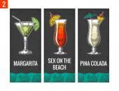 Fotografie Alkohol cocktail set. Margarita, Sex am Strand, Pina Colada. Jahrgang Vektor Illustration für Web, Plakat, Menü, Einladung zur Sommer-Beachparty gravieren. Auf dunklem Hintergrund isoliert