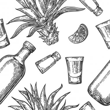 Seamless pattern of glass and botlle, tequila, salt, cactus and lime on white background. Vintage vector engraving illustration for label, poster, web, invitation to party