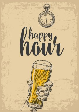 Male hand holding a beer glass. Vintage vector engraving illustration for label, poster, menu. Isolated on beige background. Happy hour