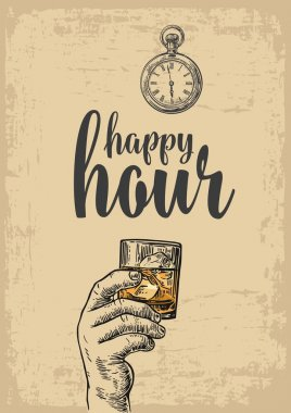 Male hand holding a glass with whiskey and ice cubes. Vintage vector engraving illustration for label, poster, menu. beige background. Happy hour