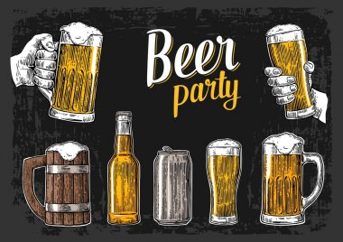 Two hands holding beer glasses mug. Glass, can, bottle. Vintage vector engraving illustration for web, poster, invitation to beer party. Isolated on dark background