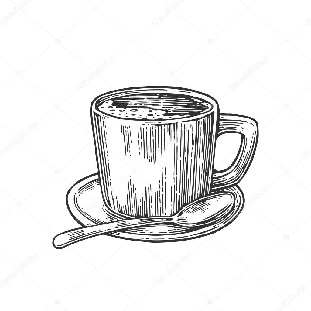 Cup Of Coffee With Saucer Spoon Hand Drawn Sketch Style Vintage Black Vector Engraving Illustration For Label Web Flayer Isolated On White Background Vector Image By C Denispotysiev Vector Stock 108665992