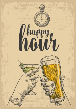 Two hands clink a glass of beer and a glass of cocktails. Vintage vector engraved drawn illustration for web, poster, invitation to party. Isolated on beige background. Happy hour
