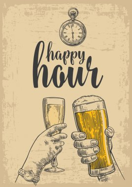 Two hands clink a glass of beer and a glass of champagne. Vintage vector engraved drawn illustration for web, poster, invitation to party. Isolated on beige background. Happy hour