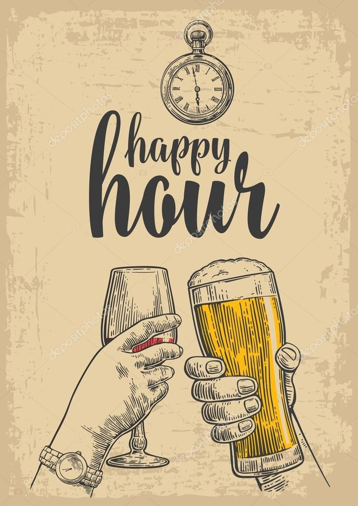 Two hands clink a glass of beer and a glass of wine. Drawn design element. Vintage vector engraved illustration for web, poster, invitation to party. Isolated on beige background. Happy hour.