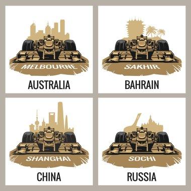 Set vintage poster Grand Prix. Melbourne, Australia, Sakhir, Bahrain, Shanghai, China, Sochi, Russia.  Vector for poster, web