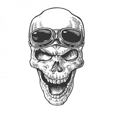 Skull smiling with glasses for motorcycle on forehead. Black vintage vector illustration. For poster and tattoo biker club. Hand drawn design element isolated on white background.