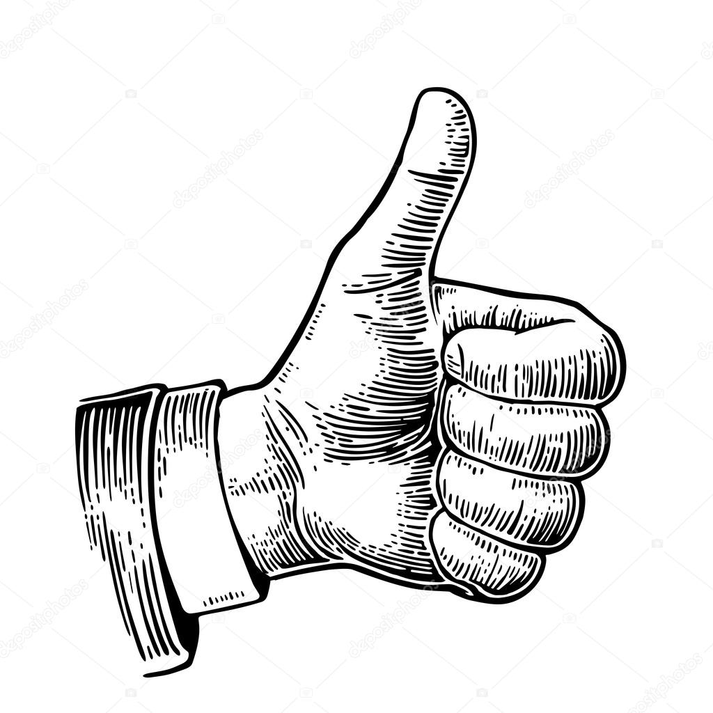 Hand showing symbol Like. Making thumb up gesture. Vector ...