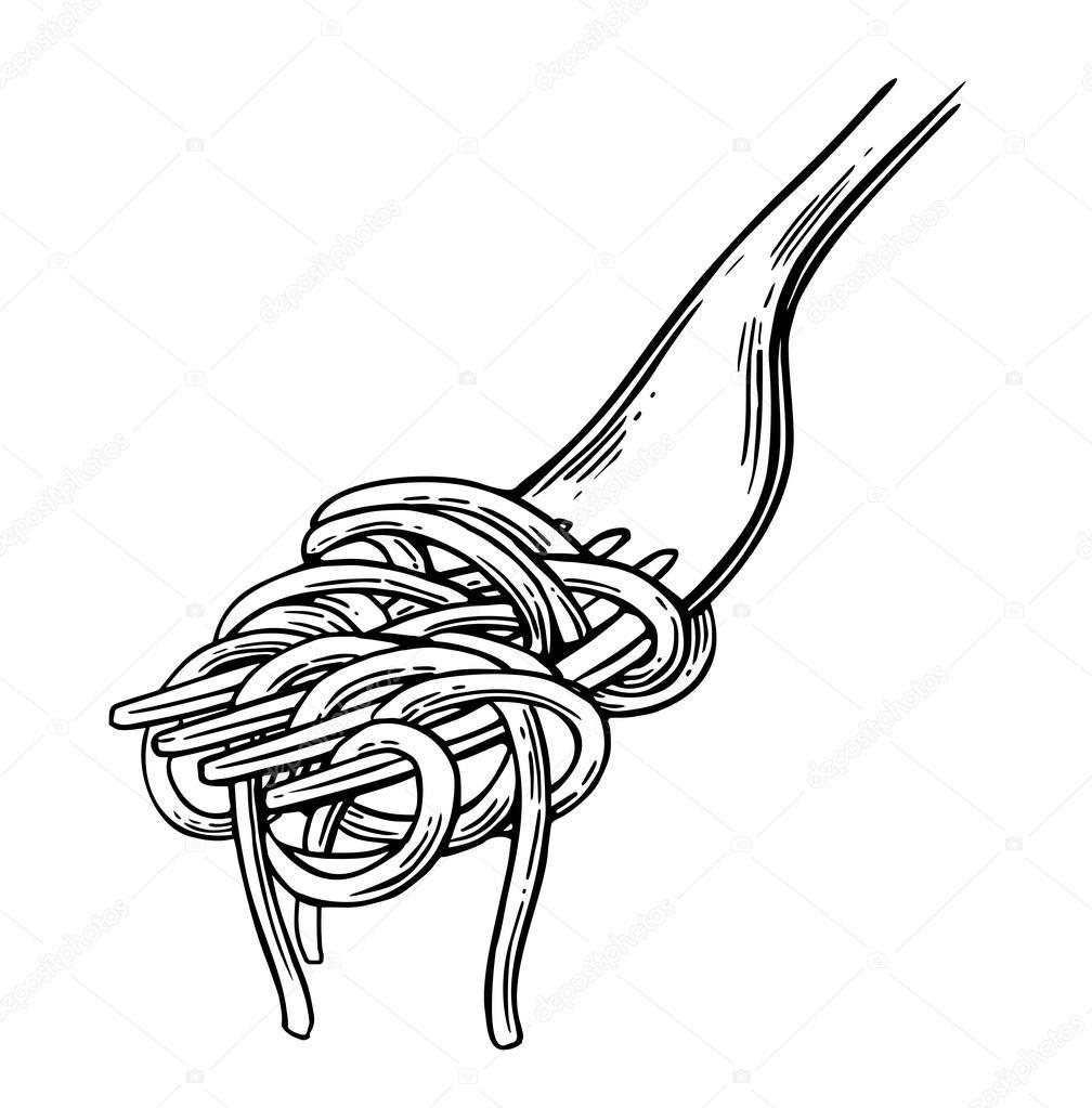 spaghetti on fork vector vintage black illustration