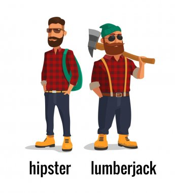 Lumberjack and hipster in the yellow shoes and a red plaid shirt. Vector flat illustration on white background