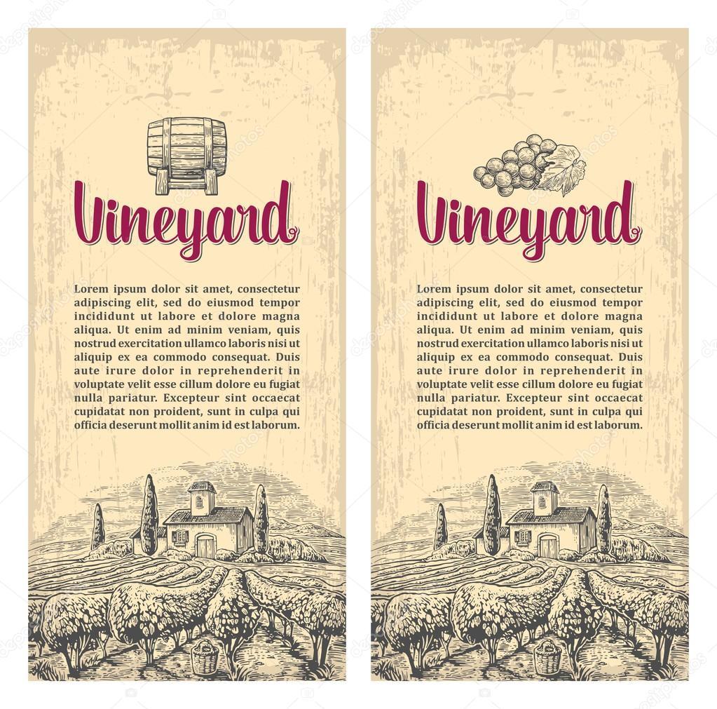Rural landscape with villa, vineyard fields and hills. Vector engraving drawn vintage illustration. Old paper beige texture background. For label, poster, vertical banner